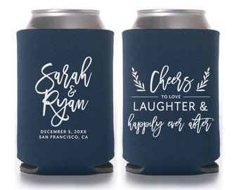 Cheers to Love, Laughter and Happily Ever After, Personalized Can Coolers, Wedding Favors, Beer, Can Sleeves, Navy, Calligraphy - T411