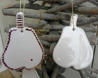 White porcelain christmas ornaments | Etsy