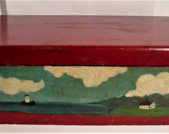 Antique Primitive New England Wood Box  - Primitive Large Red Lighthouse Box - Antique Hand Painted Red Wooden Box  Seacoast Box