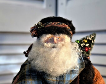Primitive Santa Claus Figure - Country Rustic Father Christmas Figure - Old World Santa Claus - European Father Christmas