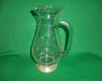 """One (1), 8 3/4"""" Tall, Glass Pitcher, with Sterling Silver Base."""