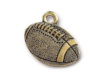 6 TierraCast Football 11/16 inch ( 18 mm ) Gold Plated Pewter Charms Pendants