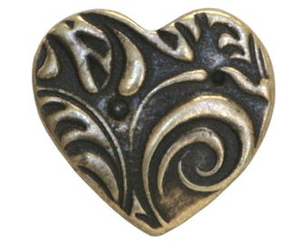 3 TierraCast Amor 5/8 inch ( 15 mm ) Brass Plated Pewter Buttons