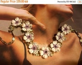 HOLIDAY SAVINGS Lisner Lavender Necklace Filigree Purple Rhinestone Gold Leaves 1950 1960