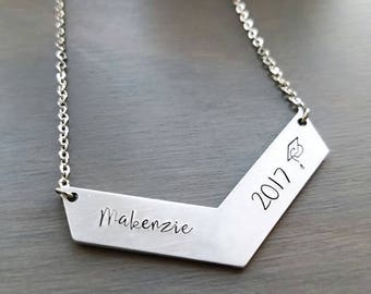 Personalized graduation necklace, class of 2017 necklace, customized gift for graduate, high school senior jewelry, 2017 graduation present,