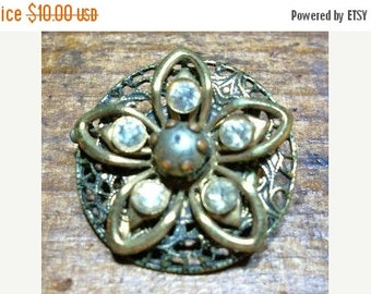ON SALE Vintage Gold Brass Round Flower Brooch with Rhinestones Small Brooch Bridal Brooch Bouquet