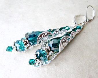 Teal Drop Earrings, Silver Filigree, Emerald Green Crystals, Intricate Beaded Earrings, Silver Earrings, Leverback Earrings