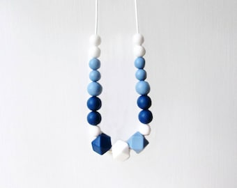Silicone Teething Necklace, New Mom Gift, Nursing Necklace, Silicone Bead Necklace,Sapphire Blue, Baby Blue White, Baby Teether, Baby Shower