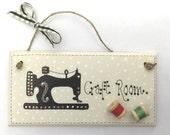 Personalised  Handpainted Craft Sewing Machine Room Door Plaque Sign