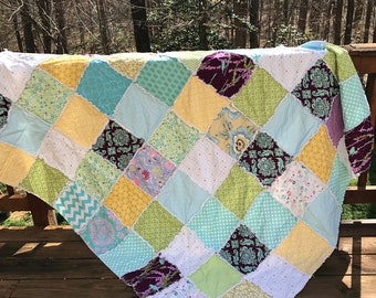 Twin size quilt- *sale*Ready to ship, Purple rag quilt, one of a kind rag quilt, yellow rag quilt, patchwork quilt, homemade quilt