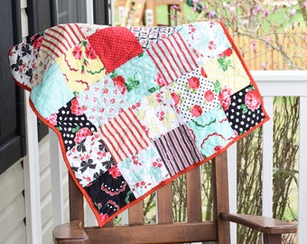 Floral Baby quilt- Ready to ship, shabby chic baby quilt, Red baby quilt, handmade baby quilt, patchwork baby quilt, baby shower gift