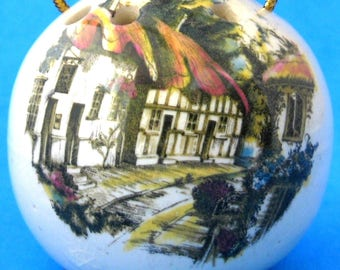 Pomander English Village Scene Sachet Pot Pourri Closet Drawer Scent 1950s Vanity Lingerie