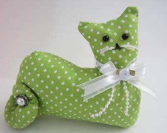 Cat Doll,  Cat Shape Pillow, Pillow Tuck, Cottage Chic Cat, Decorative Cat, Green Cat Decor, Polka Dot Pillow, Handmade Fabric Cat
