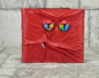 Red Leather Wallet Monster Face Harry Potter Labyrinth Fantasy Magic The Gathering Wiccan Horror Gothic Steampunk Fathers Day Gift