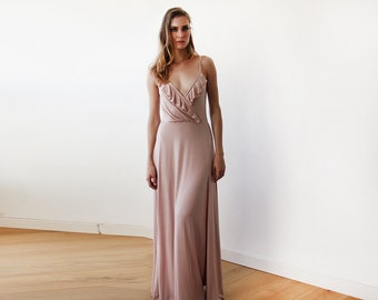 Blush Bridesmaids wrap straps maxi dress, Blush pink maxi straps gown with slit 1138