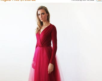 30% OFF - Blush Birthday Bordeaux maxi length tulle gown with long sleeves , Bordeaux bridesmaids tulle gown 1066