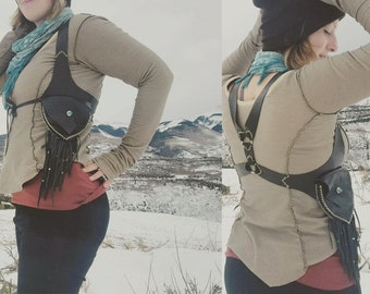 Pocket Holster Utility Vest.  Upcycled leather // Custom made to order // Many color options / Festival gear / burning man