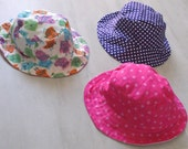 Baby Bucket Hats - Sun hat - Size Large - cotton handmade 12 - 18 months. Summer gift.