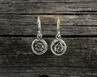 Handmade Sterling Silver Wild Rose Roots Earrings