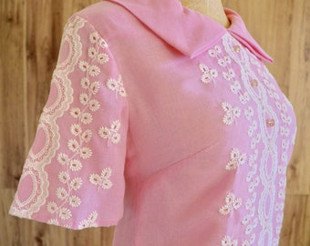 1960s Pink Embroidered Shift Dress, Sixties A Mendel Creation Dress, Jackie O Pink Shift w/ White Embroidery, Spring Easter A Line Shift