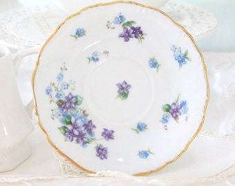 Vintage, Porcelain Saucer by Royal Halsey, Spring Garden Pattern, Replacement China, Bachelorette Favors, Little Princess Birthday Tea Party