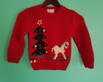 M Medium Kids Childs Vintage Hand Knit Windcrest Label Red Novelty Print Christmas Tree Rocking Horse Fall Winter Ugly Sweater