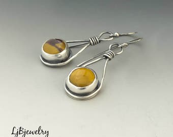 Mookaite Earrings, Dangle Earrings, Sterling Silver Earrings, Mookaite, Handmade, Metalsmith, Metalwork, Artisan Jewelry