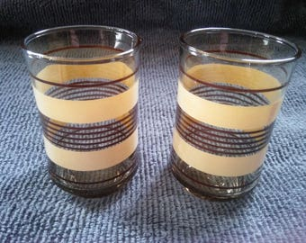 Vintage Pair of Brown Striped Six Ounce Juice Glasses - Brown and Tan Juice Glasses - Striped Glasses - Juice Glasses