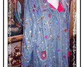 Blue Jean Jacket - by Quacker Factory Vintage Heavy Beaded - Size 1X - CLO-114a-030613010