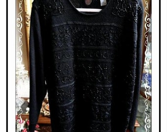 Alfred Dunner Black Pull Over Sweater - Vintage 1980s 1990s - Black Beads w Ribbon and Heavy Lace - Size XL Acrylic Wool CLO-148a-110413020