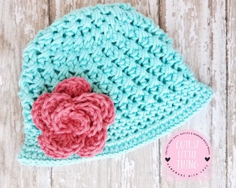Crochet Spring Hat, Baby Flower Hat, Baby Girl Spring Hat, Baby Girl Summer Hat, Crochet Flower Hat, Crochet Summer Hat, Girl Easter Hat