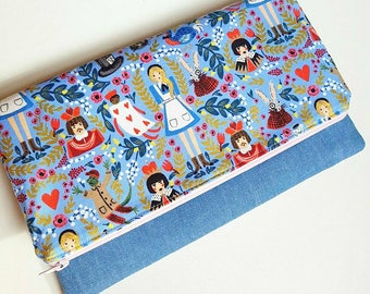 Alice in Wonderland inspired purse fold over clutch periwinkle blue