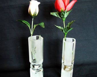 Vintage glass small vases Clear and frosted high quality glass