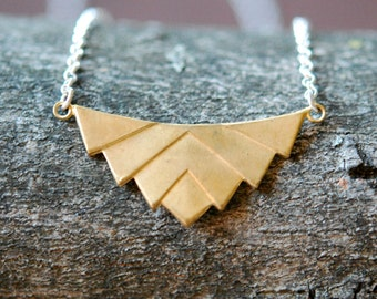 Chevron necklace, brass chevron, layered, arrow necklace, point, mixed metals, long silver chain, modern, geometric jewelry, x-girlfriend