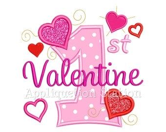 1st Valentine Across Number One Hearts Applique Machine Embroidery Design first INSTANT DOWNLOAD