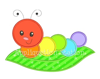 Cute Bugzee Rainbow Caterpillar Applique Machine Embroidery Design boy/girl baby insect bug worm  INSTANT DOWNLOAD