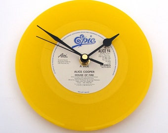 "ALICE COOPER Clock "" House Of Fire"" A recycled original 7"" record. 1980s heavy rock metal style Boxed Cool gift for men women YELLOW black"