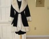60's Hollywood style dress and coat set, faux fox trim,  gorgeous, black velveteen, short sleeve shift dress