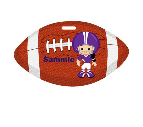 backpack tag, girls football tag, gym bag tag, lunch box tag, sports tag, custom tag, girls tag, personalized tag