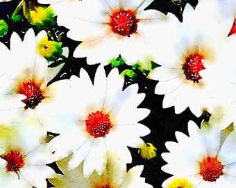 Watercolor Print - Floral - Bed of Daisies