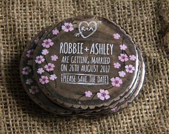 WOODLAND BLOSSOM design - Save the Date Magnets x 40