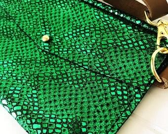 Emerald Mermaid Leather Festival Hip Bag and Purse