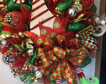 Elf Hat Christmas Wreath, Christmas wreath, Elf Wreath, Christmas