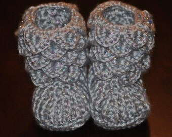 Crochet Baby Booties ~ Silver with Flecks of color Booties Little Girl 0-6 Months ~ Crocodile Stitch Booties ~ OOAK