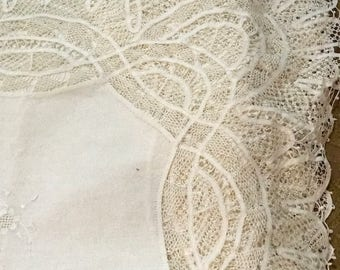 Vintage Tablecloth/Battenburg Lace/Embroidery/76X120 Inches/Formal Dining/White/8 Inch Lace/Rectangular/Wedding Gift/Fine Linen