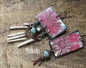 Boho Folk Rustic 'Flourish' Floral  Tin earrings n301 . upcycled tin . artisan earrings . pink floral tin earrings . rectangular tin earring