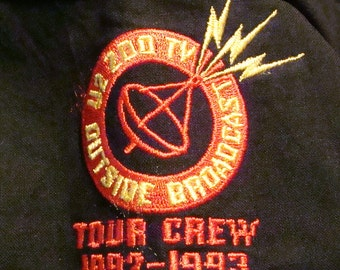RARE 1992-1993 U2 Zoo TV Outside Broadcast Tour Crew Embroidered Button Front Shirt XL Unworn
