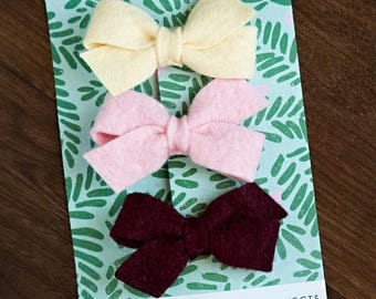 Cream, Pink, Burgandy Wool Felt Clips, Set of Three, Bow Hair Clip Toddler Accessory Maroon