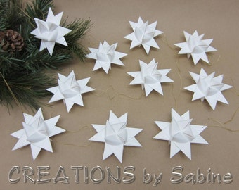 White Star Ornaments Set of 10 Gold String for Hanging Wedding Paper Star Froebel Decoration Holidays READY TO SHIP (130)