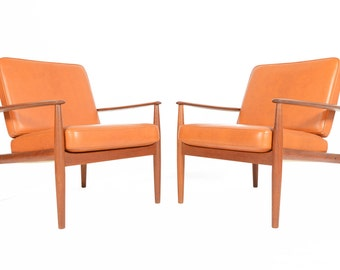 Pair of Danish Modern Mid Century Grete Jalk Teak Lounge Chairs